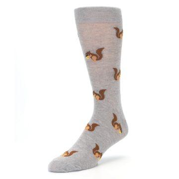 Image of Grey Brown Squirrels  Men's Dress Sock (side-2-front-08)