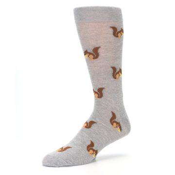 Image of Grey Brown Squirrels  Men's Dress Sock (side-2-09)