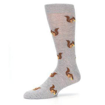 Image of Grey Brown Squirrels  Men's Dress Sock (side-2-10)