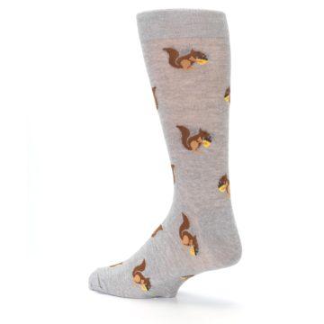 Image of Grey Brown Squirrels  Men's Dress Sock (side-2-back-14)