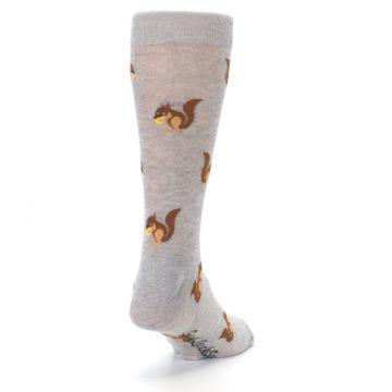 Image of Grey Brown Squirrels  Men's Dress Sock (side-1-back-20)