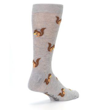 Image of Grey Brown Squirrels  Men's Dress Sock (side-1-back-22)
