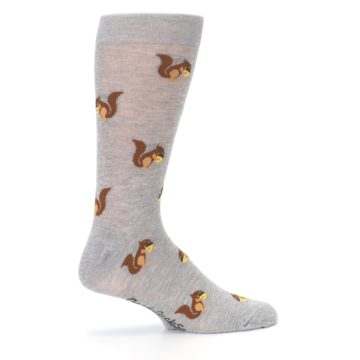 Image of Grey Brown Squirrels  Men's Dress Sock (side-1-24)