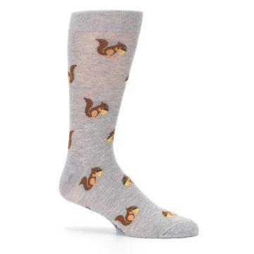 Image of Grey Brown Squirrels  Men's Dress Sock (side-1-25)