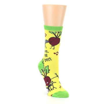 Image of Yellow Green Feel the Beet Women's Dress Socks (side-1-front-02)