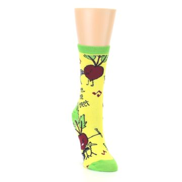 Image of Yellow Green Feel the Beet Women's Dress Socks (side-1-front-03)