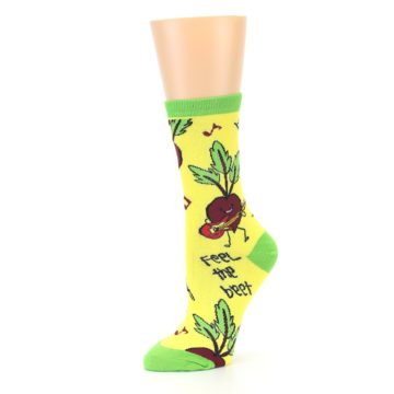 Image of Yellow Green Feel the Beet Women's Dress Socks (side-2-10)