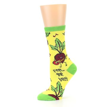 Image of Yellow Green Feel the Beet Women's Dress Socks (side-2-11)