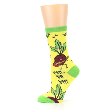 Image of Yellow Green Feel the Beet Women's Dress Socks (side-2-12)