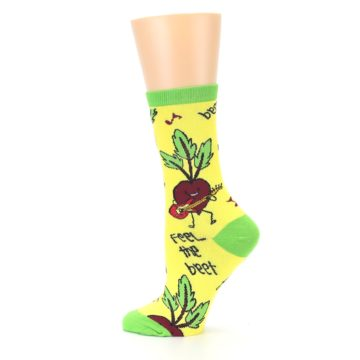 Image of Yellow Green Feel the Beet Women's Dress Socks (side-2-13)