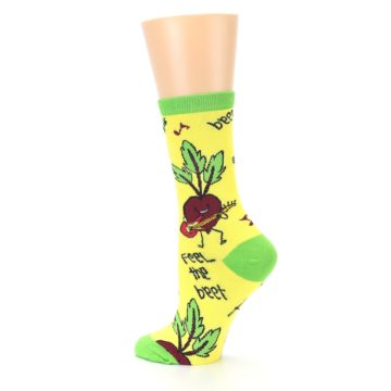 Image of Yellow Green Feel the Beet Women's Dress Socks (side-2-back-14)