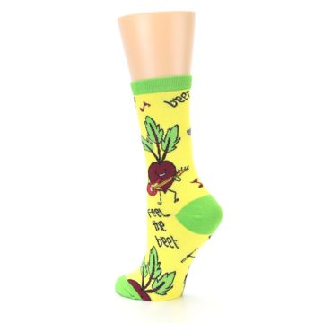 Image of Yellow Green Feel the Beet Women's Dress Socks (side-2-back-15)