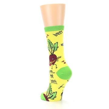 Image of Yellow Green Feel the Beet Women's Dress Socks (side-2-back-16)