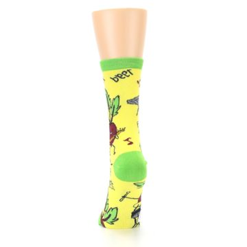 Image of Yellow Green Feel the Beet Women's Dress Socks (back-18)
