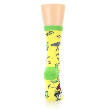 Image of Yellow Green Feel the Beet Women's Dress Socks (side-1-back-20)
