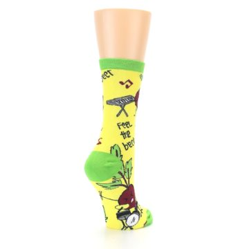 Image of Yellow Green Feel the Beet Women's Dress Socks (side-1-back-22)