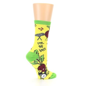 Image of Yellow Green Feel the Beet Women's Dress Socks (side-1-24)