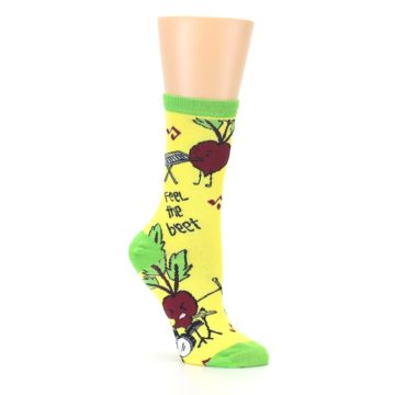 Image of Yellow Green Feel the Beet Women's Dress Socks (side-1-27)