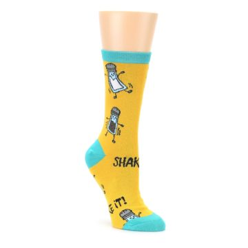 Yellow Teal Salt Shaker Womens Dress Socks Oooh Yeah Socks