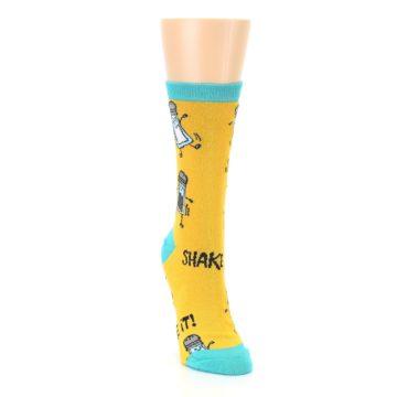 Image of Yellow Teal Salt Shaker Women's Dress Socks (side-1-front-03)