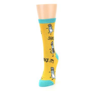 Image of Yellow Teal Salt Shaker Women's Dress Socks (side-2-front-07)