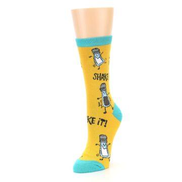 Image of Yellow Teal Salt Shaker Women's Dress Socks (side-2-front-08)