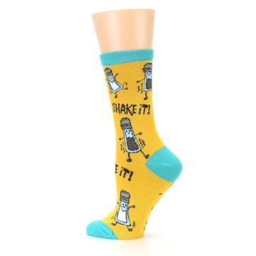 Image of Yellow Teal Salt Shaker Women's Dress Socks (side-2-13)