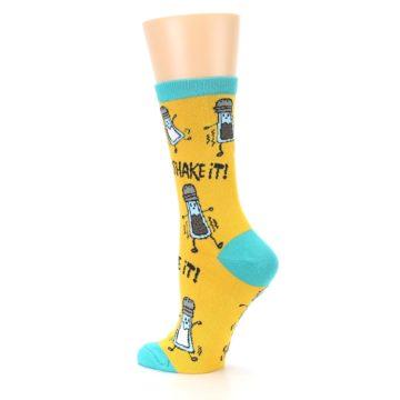 Image of Yellow Teal Salt Shaker Women's Dress Socks (side-2-back-14)