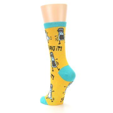 Image of Yellow Teal Salt Shaker Women's Dress Socks (side-2-back-15)