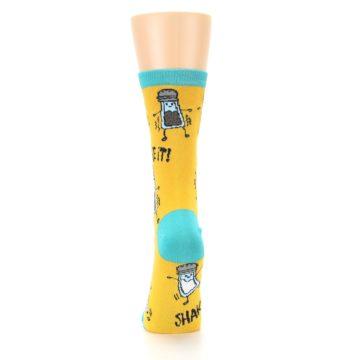 Image of Yellow Teal Salt Shaker Women's Dress Socks (back-18)