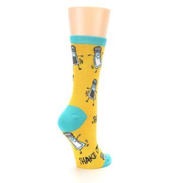 Image of Yellow Teal Salt Shaker Women's Dress Socks (side-1-back-22)