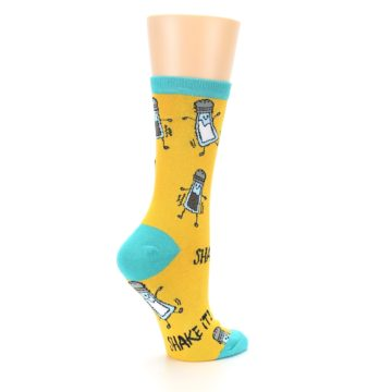 Image of Yellow Teal Salt Shaker Women's Dress Socks (side-1-23)