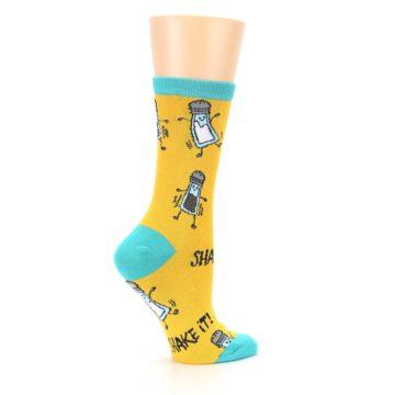 Image of Yellow Teal Salt Shaker Women's Dress Socks (side-1-24)