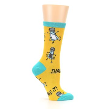 Image of Yellow Teal Salt Shaker Women's Dress Socks (side-1-25)