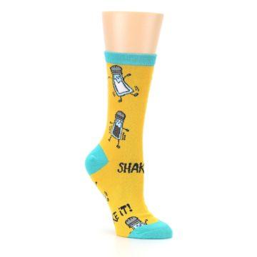 Image of Yellow Teal Salt Shaker Women's Dress Socks (side-1-27)