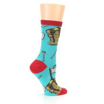 Image of Teal Red Breakfast Pancakes Women's Dress Socks (side-1-24)
