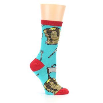 Image of Teal Red Breakfast Pancakes Women's Dress Socks (side-1-25)