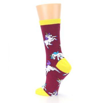 Image of Burgundy Yellow Unicorn War Women's Dress Socks (side-2-back-14)
