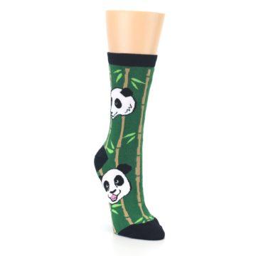 Image of Green Black Happy Panda Women's Dress Socks (side-1-front-02)