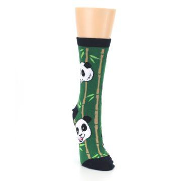 Image of Green Black Happy Panda Women's Dress Socks (side-1-front-03)