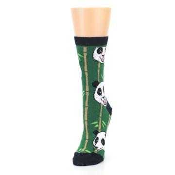 Image of Green Black Happy Panda Women's Dress Socks (side-2-front-07)