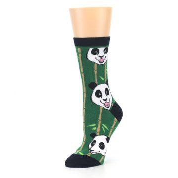Image of Green Black Happy Panda Women's Dress Socks (side-2-09)