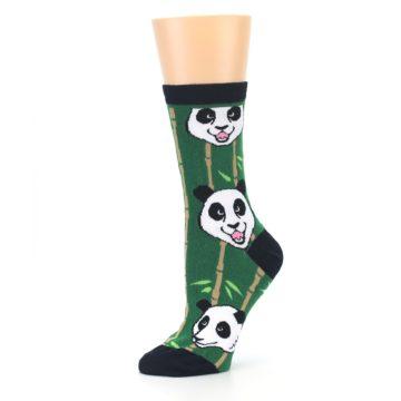 Image of Green Black Happy Panda Women's Dress Socks (side-2-10)