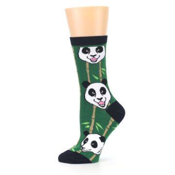 Image of Green Black Happy Panda Women's Dress Socks (side-2-11)