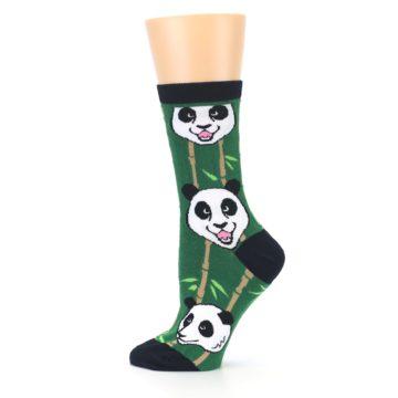 Image of Green Black Happy Panda Women's Dress Socks (side-2-12)