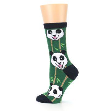 Image of Green Black Happy Panda Women's Dress Socks (side-2-13)