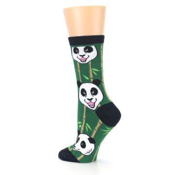 Image of Green Black Happy Panda Women's Dress Socks (side-2-back-14)