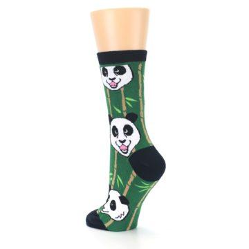 Image of Green Black Happy Panda Women's Dress Socks (side-2-back-15)