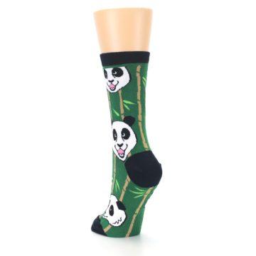 Image of Green Black Happy Panda Women's Dress Socks (side-2-back-16)