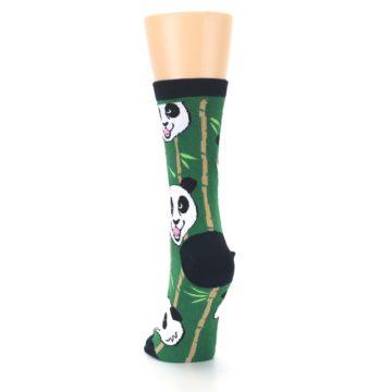 Image of Green Black Happy Panda Women's Dress Socks (back-17)